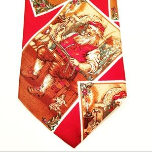 Men's Christmas Tie Silk Red Santa Theme Stafford